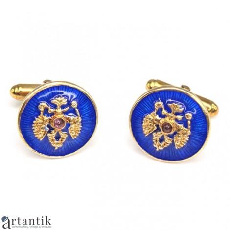 Butoni heraldici în stil Fabergé | argint emailat & aurit | Rusia